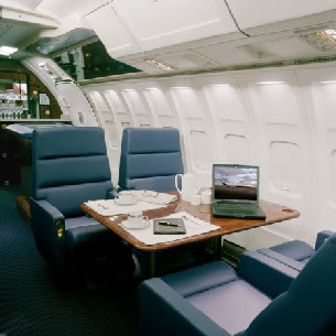 Luxury interior Boeing 727 with walk-up bar in the rear of the cabin