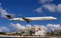 Insel Air MD-83 jet aircraft landing in St. Maarten