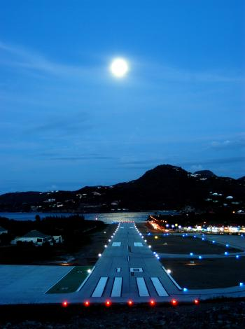 Moon over St. Barths Airport - Photo taken from COMStBarth.fr