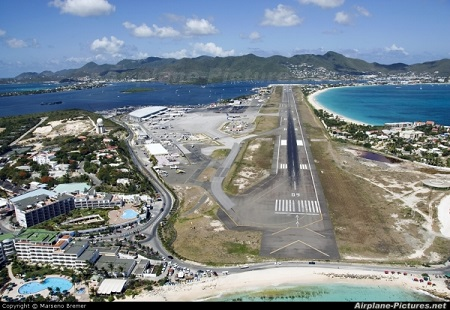 Bird's eye view of SXM Airport apron