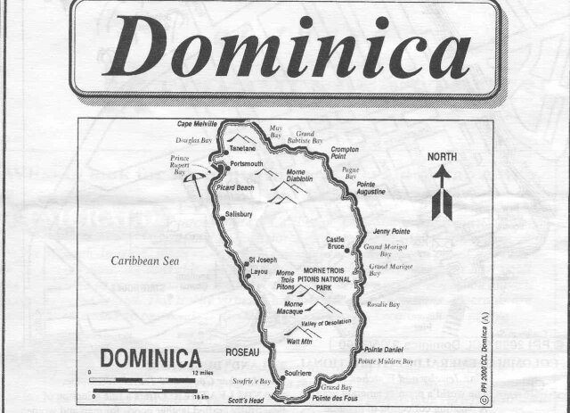 Map of the island of Dominica. Click to enlarge.