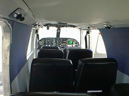 Forward view interior BN Islander seating and cockpit area