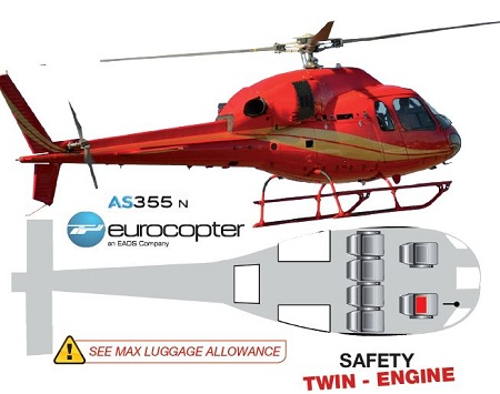 Eurocopter AS 355N 5-seater twin-engine helicopter specs