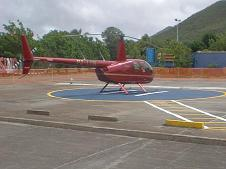 Robinson R44 helicopter used for aerial photography shoots in St. Maarten