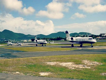 Private Jets Lined Up For Take Off From SXM Airport