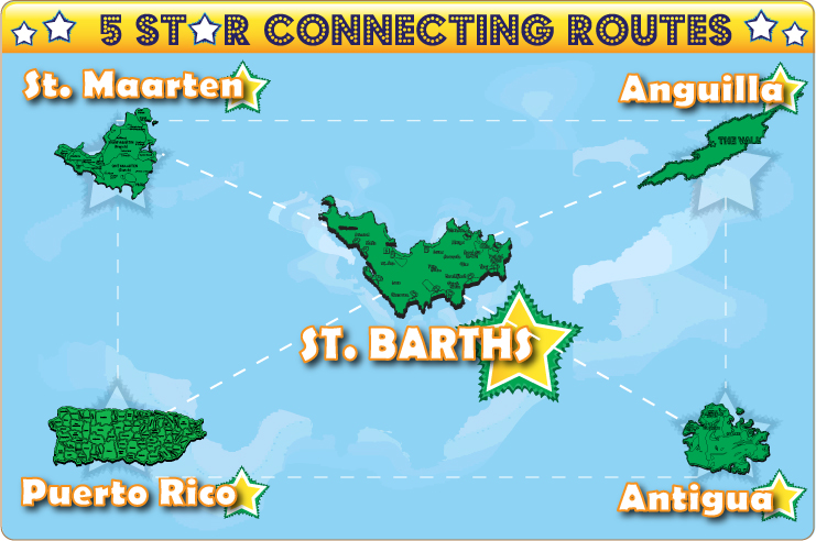 Five star connection routes to St. Barths