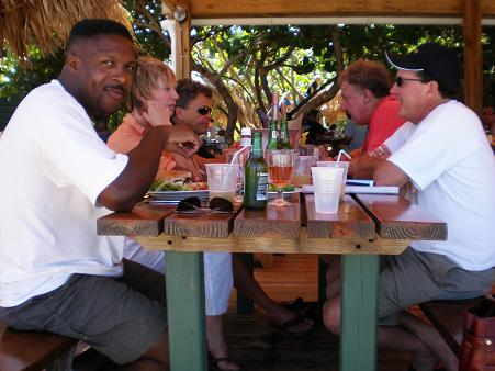Lunch scene in St. Barths with Gregb and friends