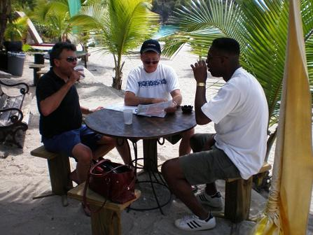 Lunch scene in St. Barths with Gregb and bro