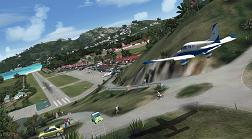 Final approach to St. Barths airport runway with AirStMaarten, the virtual airline.