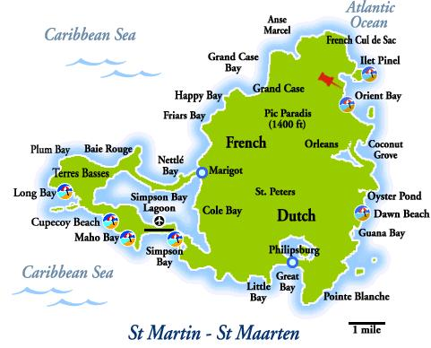 Island Map of St. Maarten - St. Martin